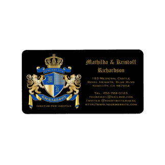 Create Your Own Coat of Arms Blue Gold Lion Emblem Address Label