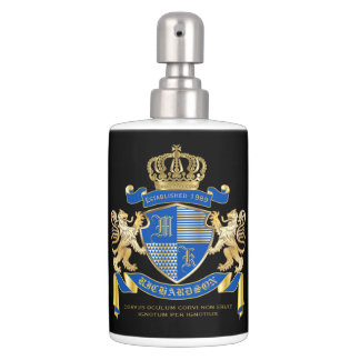 Create Your Own Coat of Arms Blue Gold Lion Emblem Bathroom Set