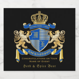Create Your Own Coat of Arms Blue Gold Lion Emblem Beer Bottle Label