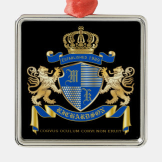 Create Your Own Coat of Arms Blue Gold Lion Emblem Christmas Ornament