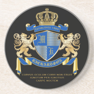 Create Your Own Coat of Arms Blue Gold Lion Emblem Coaster