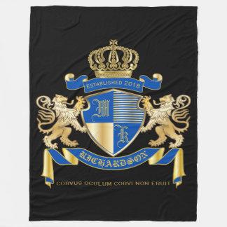Create Your Own Coat of Arms Blue Gold Lion Emblem Fleece Blanket