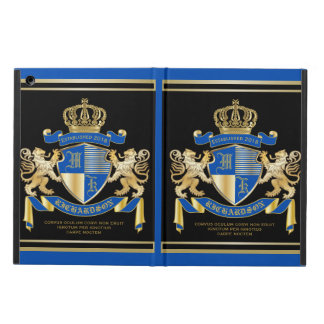 Create Your Own Coat of Arms Blue Gold Lion Emblem iPad Air Cover