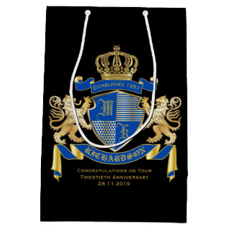 Create Your Own Coat of Arms Blue Gold Lion Emblem Medium Gift Bag