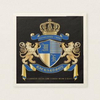 Create Your Own Coat of Arms Blue Gold Lion Emblem Paper Napkin