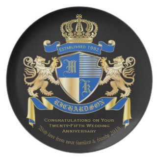 Create Your Own Coat of Arms Blue Gold Lion Emblem Plate