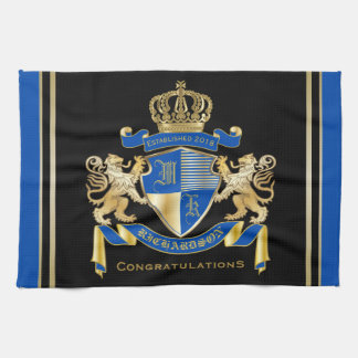 Create Your Own Coat of Arms Blue Gold Lion Emblem Tea Towel