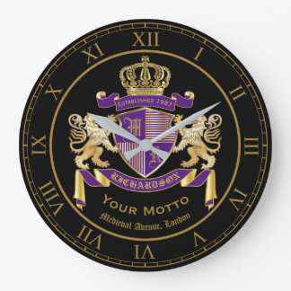Create Your Own Coat of Arms Monogram Lion Emblem Large Clock