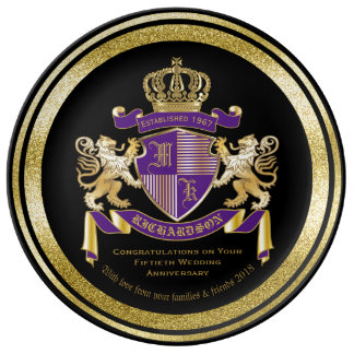 Create Your Own Coat of Arms Monogram Lion Emblem Plate