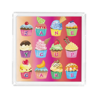 Create Your Own Cupcake Monogram Delicious Treats Acrylic Tray