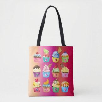 Create Your Own Cupcake Monogram Delicious Treats Tote Bag