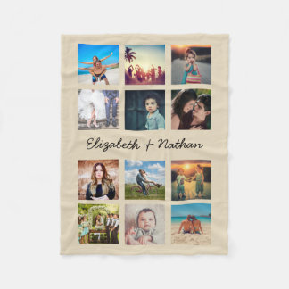 Create Your Own Custom 12 Photo Collage Instagram Fleece Blanket