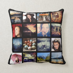 Create Your Own Custom 16 Instagram Photo Collage Cushion at Zazzle