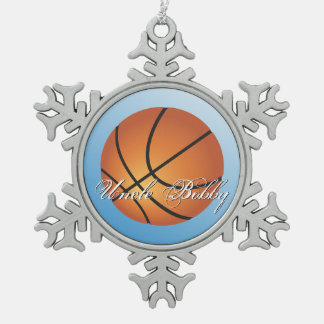 Create your Own Custom Monogram Basketball Snowflake Pewter Christmas Ornament