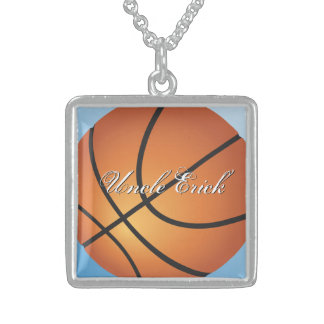 Create your Own Custom Monogram Basketball Square Pendant Necklace