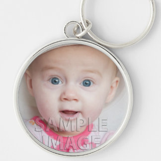 Create Your Own! Custom Photo Template Silver-Colored Round Key Ring