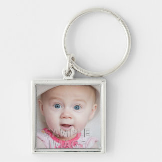Create Your Own! Custom Photo Template Silver-Colored Square Key Ring