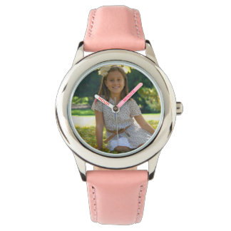 Create Your Own Custom Pink Leather Strap Watch