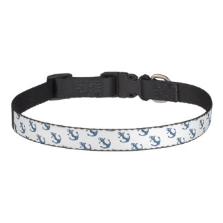 Create your own custom | Plaid tartan blue anchor Pet Collar