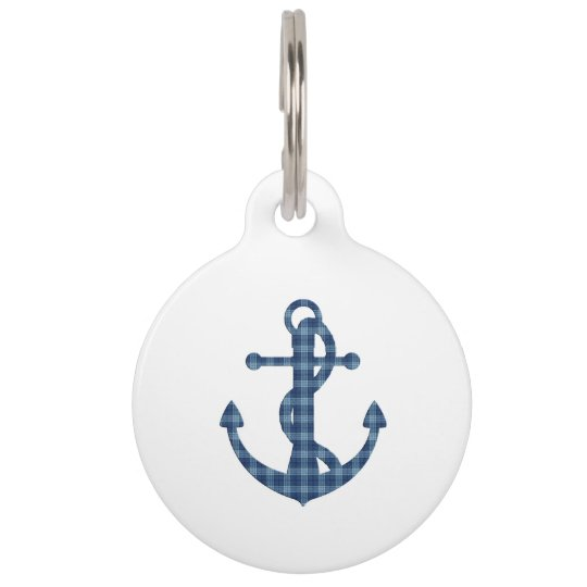 Create your own custom | Plaid tartan blue anchor Pet Tag