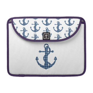 Create your own custom | Plaid tartan blue anchor Sleeve For MacBooks