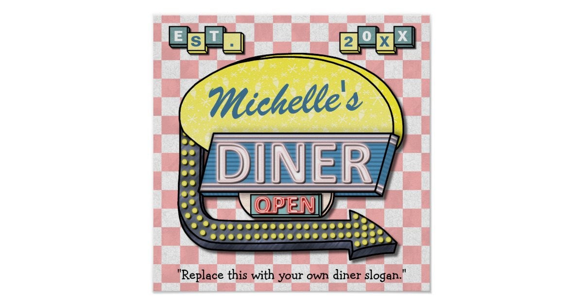 Create Your Own Custom Retro 50s Diner Sign