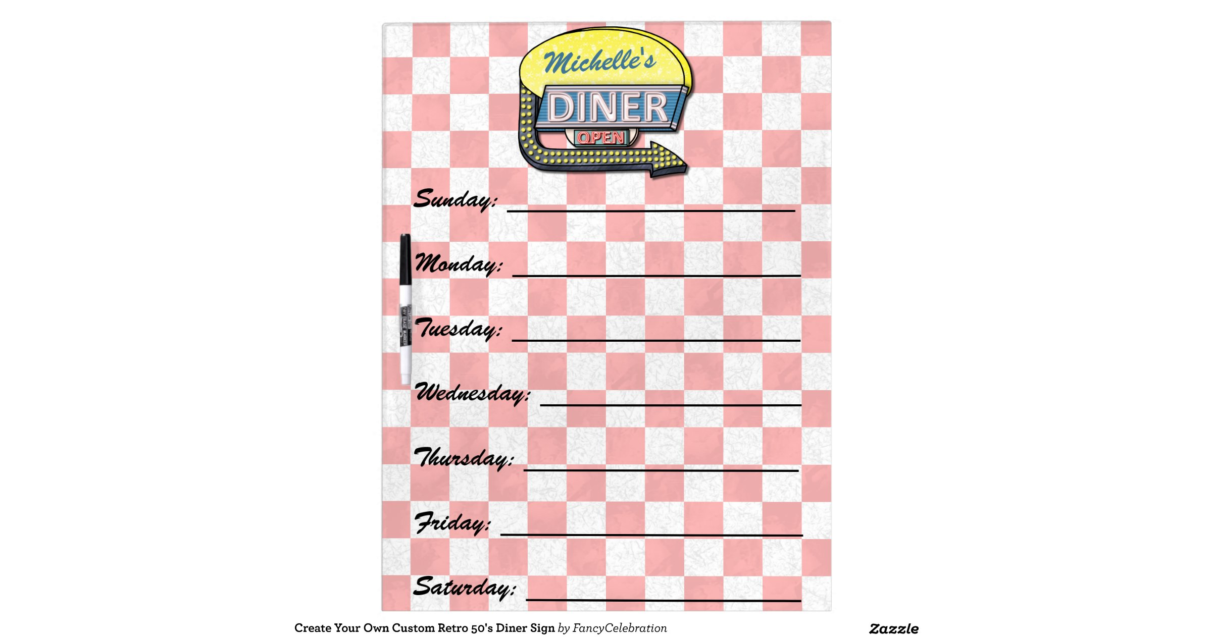Create Your Own Custom Retro 50 39 S Diner Sign Zazzle