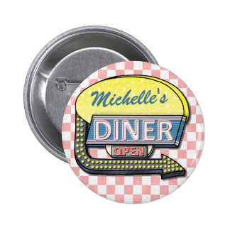 Create Your Own Custom Retro 50's Diner Sign 2 6 Cm Round Badge