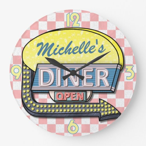Create Your Own Custom Retro 50's Diner Sign 2 Wall Clocks