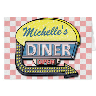 Create Your Own Custom Retro 50's Diner Sign 2 Greeting Card