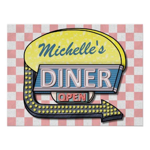 Create Your Own Custom Retro 50's Diner Sign 2 Print