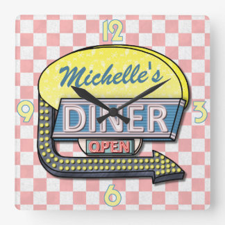 Create Your Own Custom Retro 50's Diner Sign 4 Wall Clock