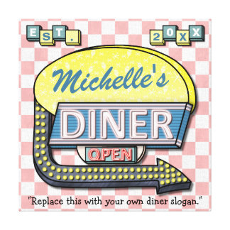 Create Your Own Custom Retro 50's Diner Sign Gallery Wrapped Canvas