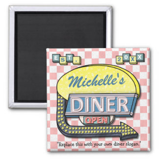 Create Your Own Custom Retro 50's Diner Sign Square Magnet