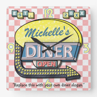 Create Your Own Custom Retro 50's Diner Sign Square Wall Clock