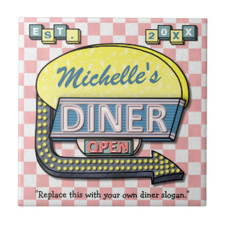 Create Your Own Custom Retro 50's Diner Sign Tile