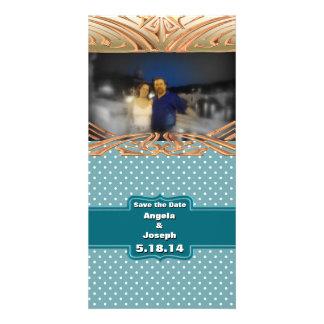 Create Your Own Custom Teal Jade Polka Dots Customized Photo Card