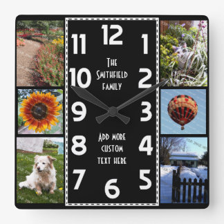 Create Your Own Deco 6 Photo Collage Black-White Clocks