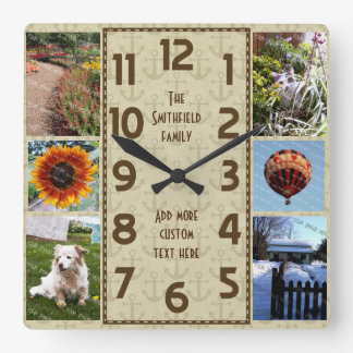 Create Your Own Deco 6 Photo Collage Brown Anchors Wall Clocks