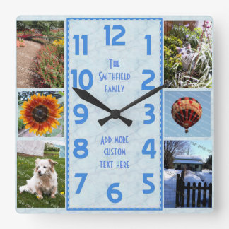 Create Your Own Deco 6 Photo Collage Marbled Blue Square Wall Clock