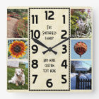 Create Your Own Deco 6 Photo Collage Marbled Square Wall Clock
