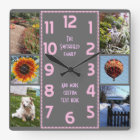 Create Your Own Deco 6 Photo Collage Pink Grey Square Wall Clock