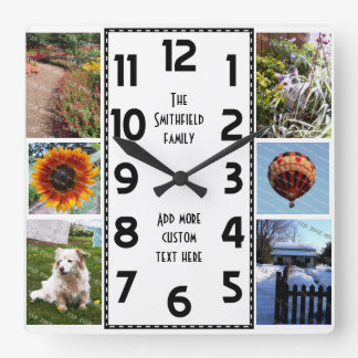 Create Your Own Deco 6 Photo Collage Square Wall Clock