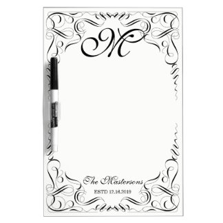 Create Your Own Elegant Graceful Wedding Monogram Dry Erase Board