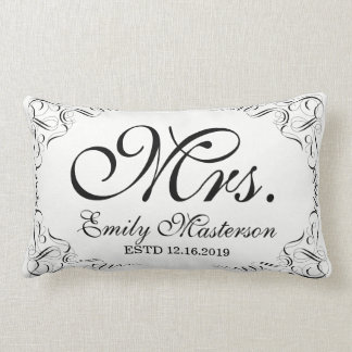 Create Your Own Elegant Graceful Wedding Monogram Lumbar Cushion