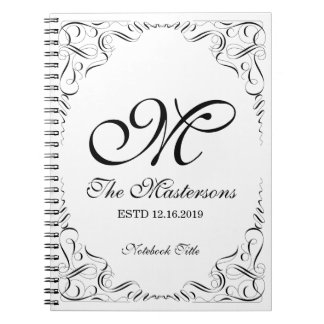 Create Your Own Elegant Graceful Wedding Monogram Spiral Notebook