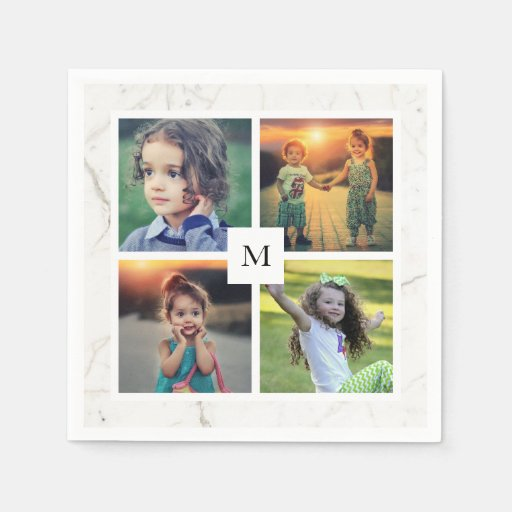 Create your own family photo collage monogrammed Disposable Napkin