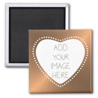 Create Your Own Gold Heart Square Magnet