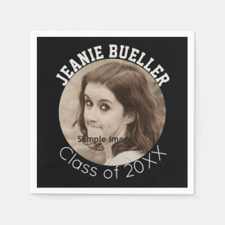 Create Your Own Graduation | Custom Photo Name B&W Paper Napkins
