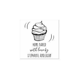 Create Your Own Hand-drawn Cupcake Home Baked Wood Rubber Stamp